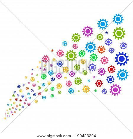 Fountain of cog symbols. Vector illustration style is flat bright multicolored iconic cog symbols on a white background. Object fountain made from symbols.