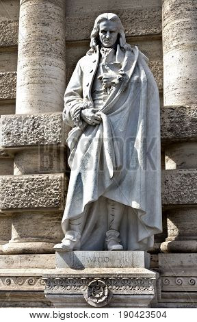 Rome, Italy - April 15, 2017: Statue of a philosopher Vico in Rome Palazzo di Giustizia in Rome