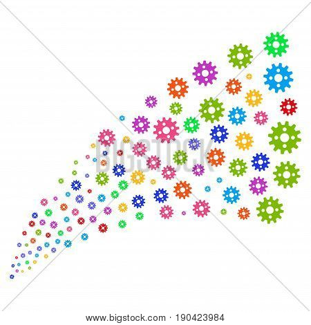 Fountain of cogwheel icons. Vector illustration style is flat bright multicolored iconic cogwheel symbols on a white background. Object fountain done from design elements.