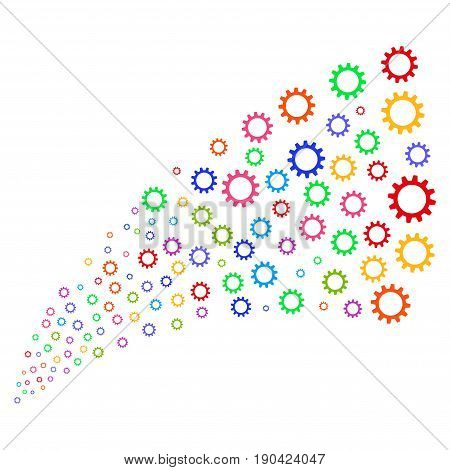 Source of cogwheel icons. Vector illustration style is flat bright multicolored iconic cogwheel symbols on a white background. Object fountain made from design elements.