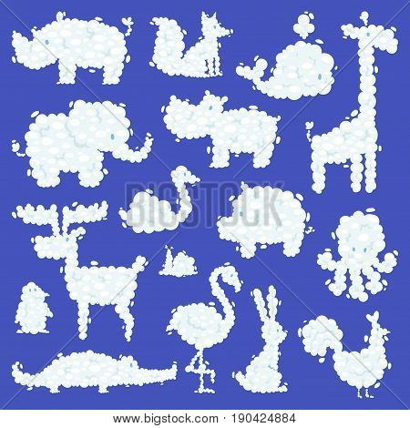 Animal clouds silhouette pattern vector illustration. Abstract art cartoon environment natural ornament adorable bright fluffy mammal.