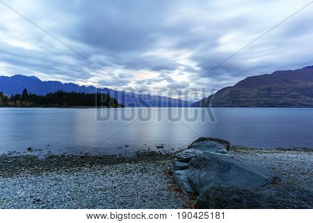 Lake Wakatipu at dusk in Queenstown South Island of New Zealand