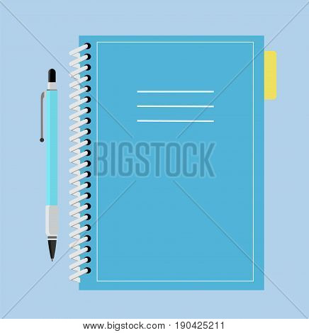 Spiral notebook. School notebook with pen. Realistic Notepad. Vector stock.