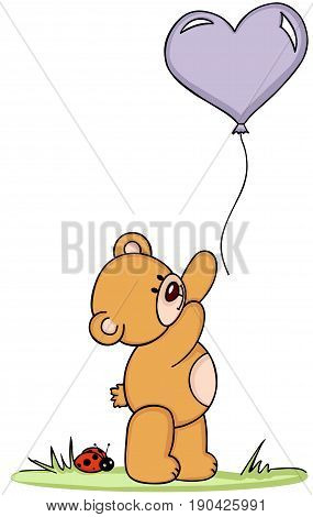 Scalable vectorial image representing a teddy bear with balloon and ladybird, isolated on white.