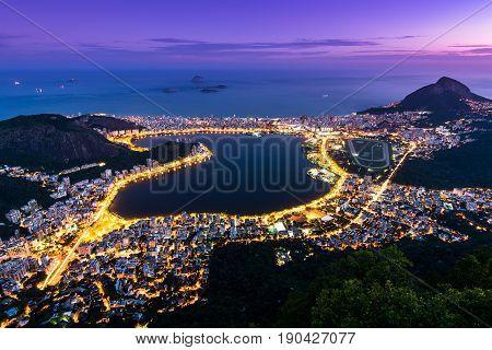 View of Rodrigo de Freitas Lagoon at Night From the Corcovado Mountain, in Rio de Janeiro, Brazil