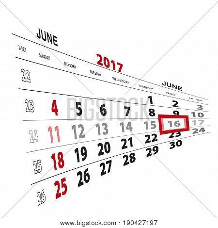 June 16, Highlighted On 2017 Calendar.