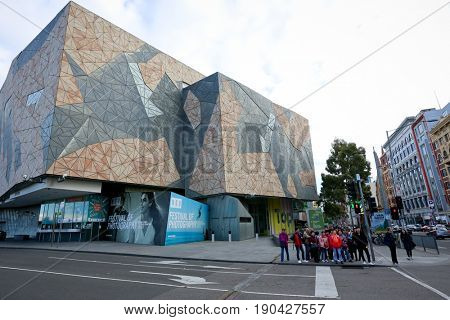 MELBOURNE, AUSTRALIA - MAY13 2017: Iconic Federation Square has become one of the most visited attractions in Melbourne.