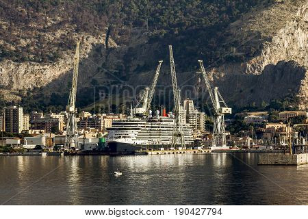 Palermo.Italy.May 26 2017.A view of the port and the ships in Palermo. Sicily