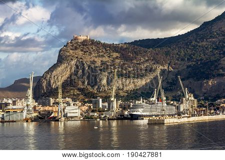 Palermo.Italy.May 26 2017.A view of the port and Castello utveggio on mount Pellegrino in Palermo. Sicily