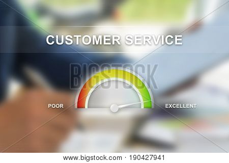 excellent customer service on guage scale with blur background