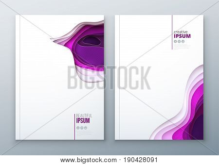 Paper cut brochure design paper carve abstract cover for pink purpure brochure flyer magazine catalog design in beauty fashion luxury poster