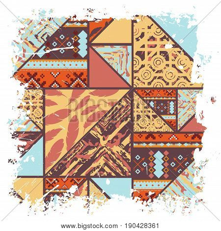 African style pattern background with white ink blots frame