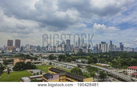 KUALA LUMPUR MALAYSIA - OCTOBER 29 2015 : Kuala Lumpur city center skyline.