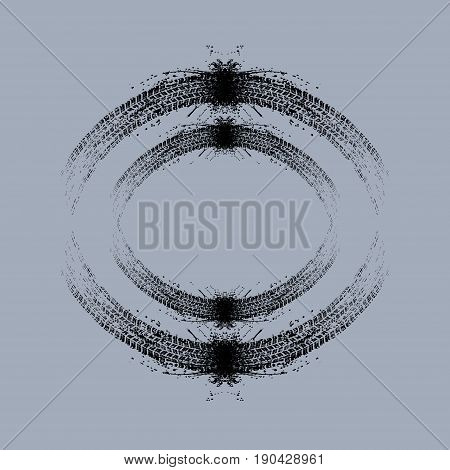 Grunge black tire track silhouette isolated on blue background
