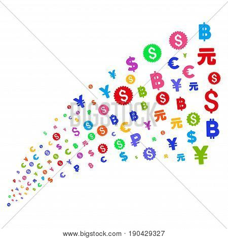 Source stream of currency symbols icons. Vector illustration style is flat bright multicolored iconic currency symbols on a white background. Object fountain created from symbols.