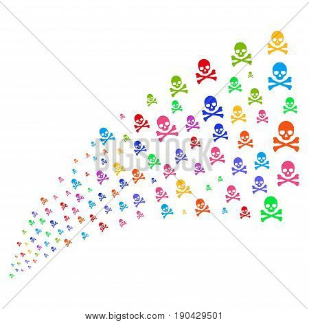 Fountain of death skull symbols. Vector illustration style is flat bright multicolored iconic death skull symbols on a white background. Object fountain made from pictograms.