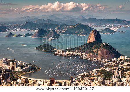 Famous View of the Sugarloaf Mountain in Rio de Janeiro, Brazil
