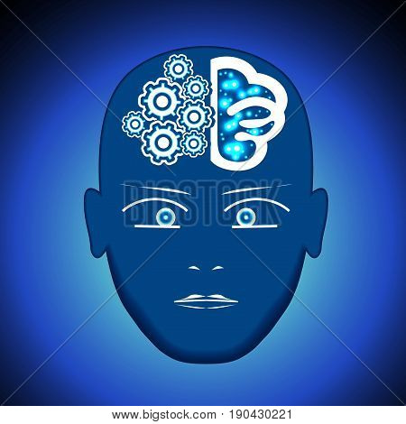 Head Brain Gears visualization of process of thinking human.