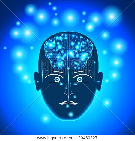 Head circuit board in form of brain with glowing with dots thoughts. Concept thinking human receiving of the information by the person through the sensory channels of occurrence of thoughts.