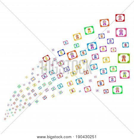 Fountain of diploma symbols. Vector illustration style is flat bright multicolored iconic diploma symbols on a white background. Object fountain created from icons.