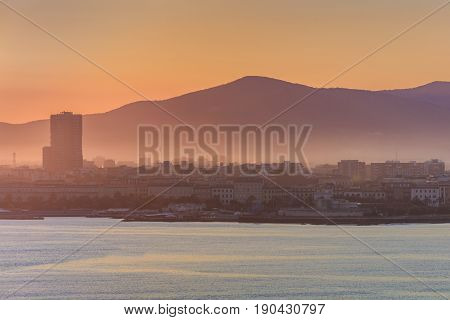 View of Livorno port at sunrise Italy