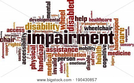 Impairment word cloud concept. Vector illustration on white
