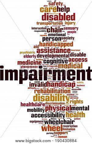 Impairment word cloud concept. Vector illustration on white