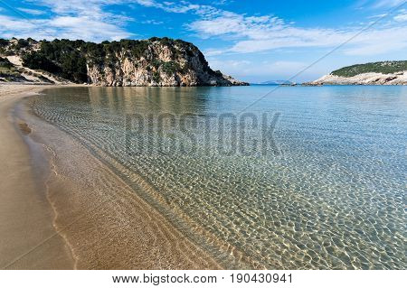 The famous Voidokilia beach in Peloponnese, one of the most beautiful beaches in Greece