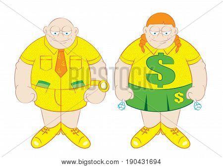 rich boy and girl cartoon vector illustration