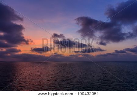 beautiful sunset at sea. The Tyrrhenian Sea Italy