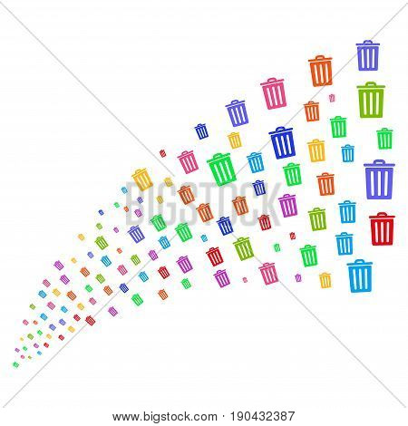 Source stream of dustbin symbols. Vector illustration style is flat bright multicolored iconic dustbin symbols on a white background. Object fountain done from icons.