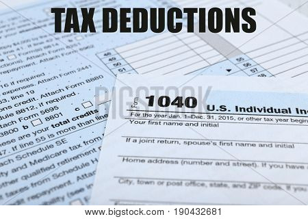 Deductions concept. Individual income tax return form, closeup