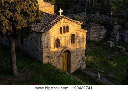 Old Byzantine church at sunset in the town of Koroni in Peloponnese, Greece
