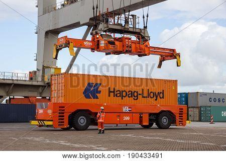 Crane Operator Shipping Sea Container