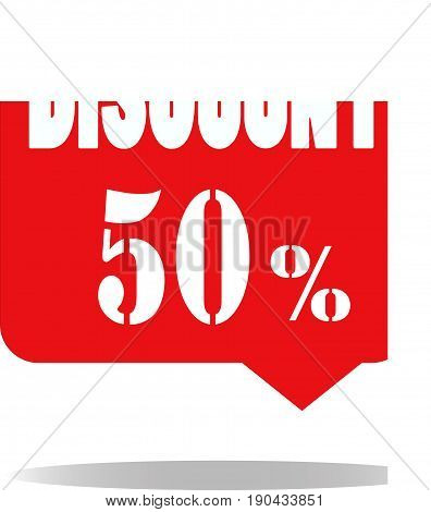 discount 50 percent on white background. special offer sale red tag. discount offer.