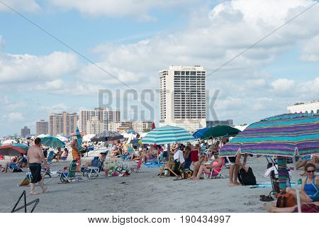 ATLANTIC CITY, NJ - AUGUST 17: A view of Atlantic City Beach during the Annual Atlantic City Air Show on August 17, 2016