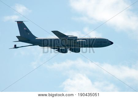 ATLANTIC CITY, NJ - AUGUST 17: View of US Air Force plane performing at the Annual Atlantic City Air Show on August 17, 2016