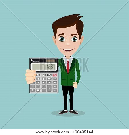 man holding a calculator. Stock vector illustration for poster, greeting card, website, ad, business presentation, advertisement design.