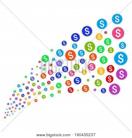 Source stream of financial seal symbols. Vector illustration style is flat bright multicolored iconic financial seal symbols on a white background. Object fountain constructed from icons.