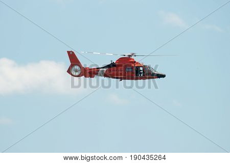 ATLANTIC CITY, NJ - AUGUST 17: US Coast Guard Helicopter performing at Annual Atlantic City Air Show on August 17, 2016