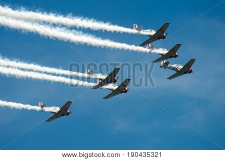 ATLANTIC CITY, NJ - AUGUST 17: View of Geicko Skytypers performing at the Annual Atlantic City Air Show on August 17, 2016