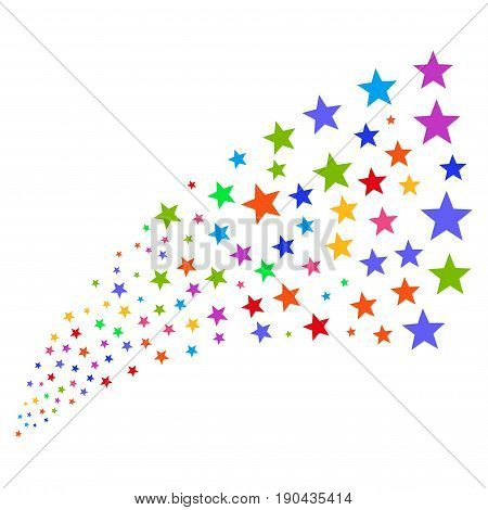 Fountain of fireworks star icons. Vector illustration style is flat bright multicolored iconic fireworks star symbols on a white background. Object fountain done from icons.