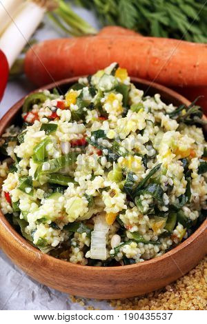 Tabbouleh Salad With Bulgur, Parsley And Vegetables -diet Concep