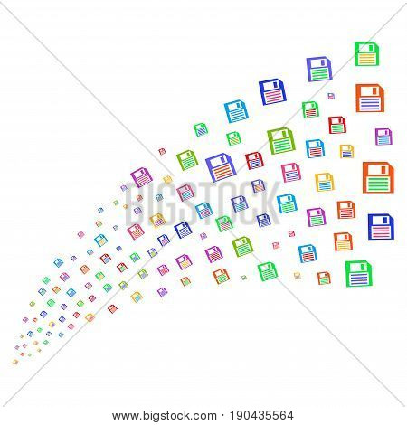 Stream of floppy disk symbols. Vector illustration style is flat bright multicolored iconic floppy disk symbols on a white background. Object fountain organized from pictographs.
