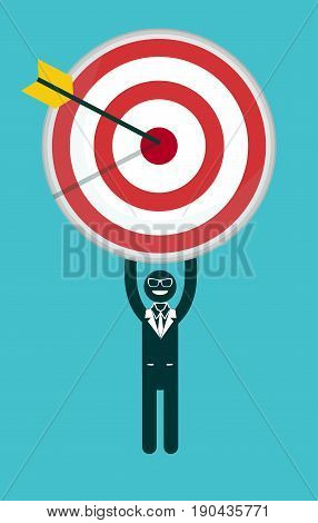 Businessman holding a target with arrow - Stock Vector illustration