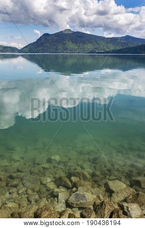 reflections on lake Walchensee in upper Bavaria