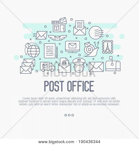 Post office concept with thin line icons. Symbols of shipping, delivery, packaging. Vector illustration.