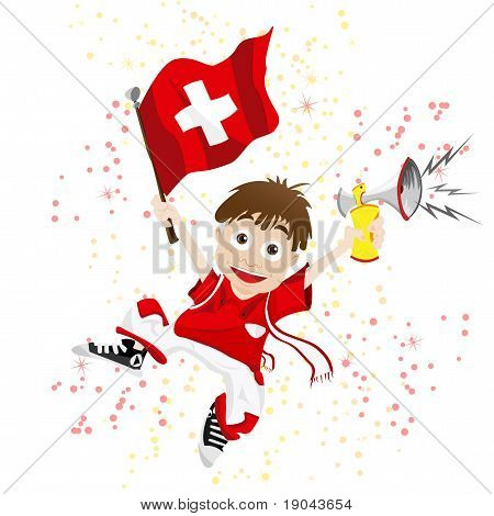Vector - Switzerland Sport Fan with Flag and Horn poster