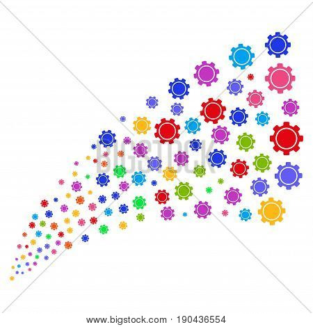 Stream of gear icons. Vector illustration style is flat bright multicolored iconic gear symbols on a white background. Object fountain made from design elements.