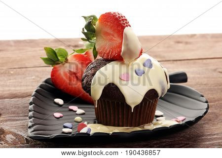 Cake For Valentine Day With Chocolate, Cupcake With White Chocolate And Strawberries
